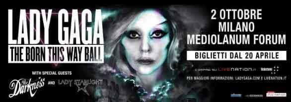 Concerto Lady Gaga Milano 2012: la scaletta