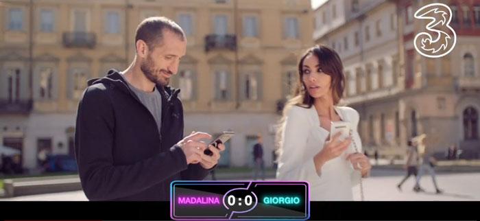 pubblicità 3 2019 con Chiellini e Madalina Ghenea