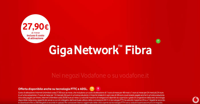pubblicità Vodafone Giga Network 2019