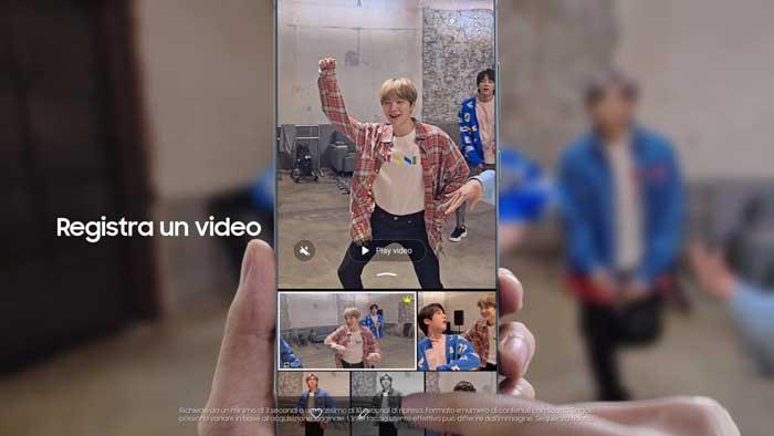 pubblicità Samsung Galaxy S20 con i BTS